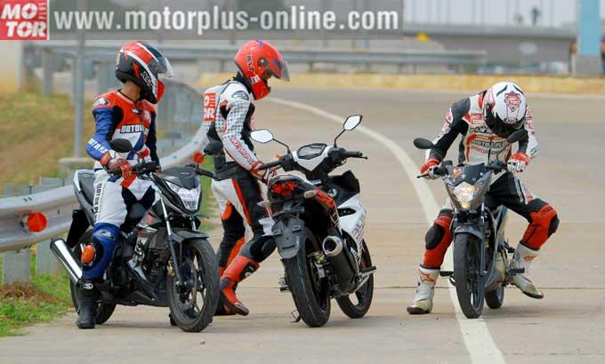 Adu Akselerasi Honda Sonic150R vs Suzuki Satria 150 FU dan Yamaha MX-King. Siapa Pemenangnya..??