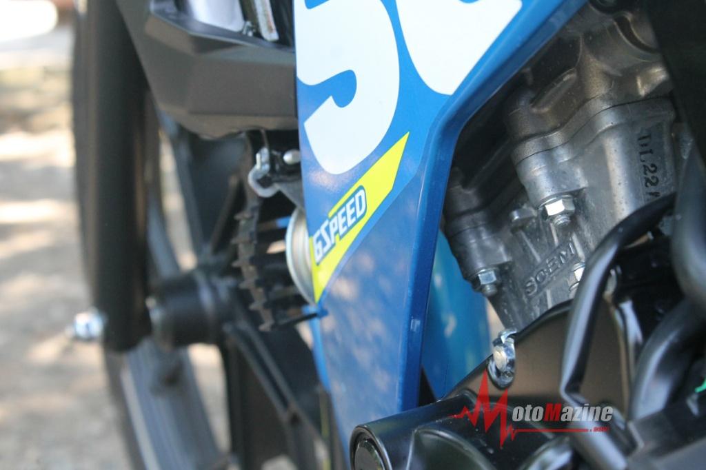 Motor sport Suzuki 150cc memang benar adanya.. Diberi kode 23KOO dibekali mesin Satria FU injeksi