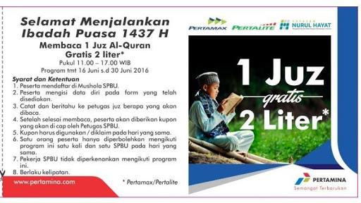 Berikut Daftar SPBU di Jawa Timur yang mengadakan Program Ngaji 1 Juz Gratis 2 Liter BBM. Bantu Sebarkan…!!!